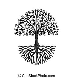 Tree with hands of diverse community and big roots. Isolated illustration for social help concept, charity or group work. EPS10 vector.
