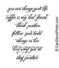 black and white handwritten positive quote set, modern calligrap
