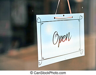 Black and white hanging open sign