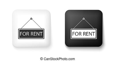 Black and white Hanging sign with text For rent icon isolated on white background. Square button. Vector.