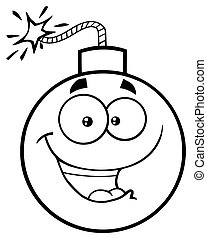 Black And White Happy Bomb Face Cartoon Mascot Character With Expressions