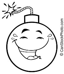 Black And White Happy Bomb Face Cartoon Mascot Character With Smiling Expressions