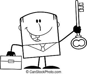 Black And White Happy Businessman