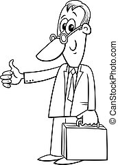 black and white happy cartoon businessman with briefcase