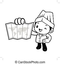 Black And White Happy Chef Mascot is holding a world map. Vector illustration isolated on white background.