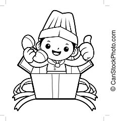 Black And White Happy Cook Mascot Call in the box. Vector illustration isolated on white background.