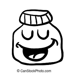 black and white happy jam jar