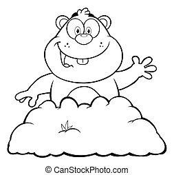 Black And White Happy Marmot Cartoon Character Waving In...