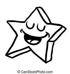 black and white happy star