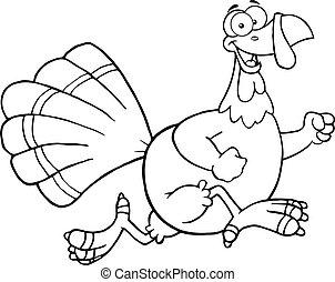 Black and White Happy Turkey Bird Cartoon Character Running...