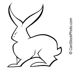 Black and white hare vector
