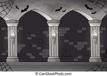 Black and white haunted interior - eps10 vector illustration...