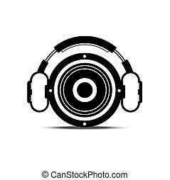 black and white headphone and speaker : music concept