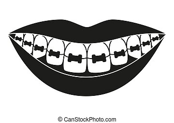 Black and white healthy smile in braces silhouette....