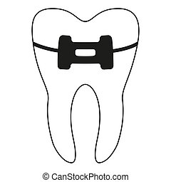 Black and white healthy tooth in brace silhouette. Achieving...