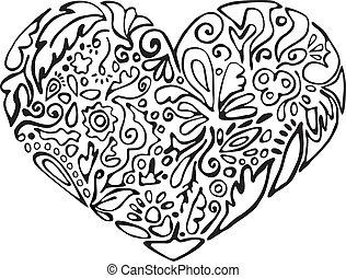 black and white heart, floral ornament sketch, stencil