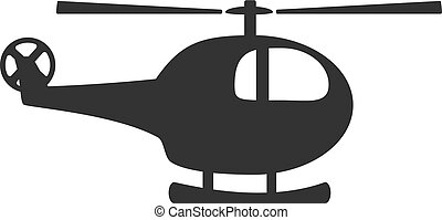 Black and white helicopter icon isolated on background....