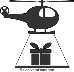 Black and white helicopter icon isolated on background with...