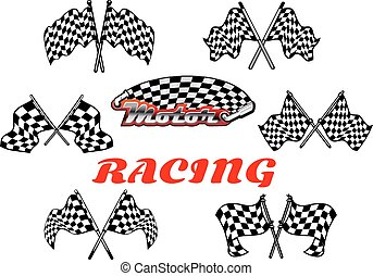 Black and white heraldic checkered racing flags