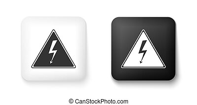Black and white High voltage sign icon isolated on white background. Danger symbol. Arrow in triangle. Warning icon. Square button. Vector