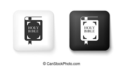Black and white Holy bible book icon isolated on white background. Square button. Vector