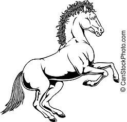 Black and white horse illustration