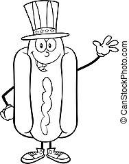 Black And White Hot Dog Waving