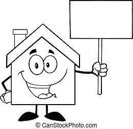 Black And White House Cartoon Character Holding Up A Blank Sign