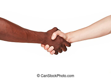 Black and white human hands in a modern handshake to show...