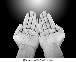 hand - Black and white human hands of prayer