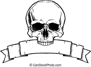 Black and white human skull with a ribbon banner.