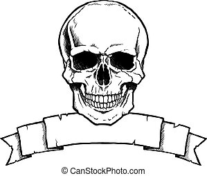 Black and white human skull with ribbon banner