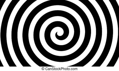"""Hypnosis Spiral, concept for hypnosis, unconscious, chaos, extrasensory perception, psychic, stress, strain, optical illusion, headache, migraine. Black and white."""
