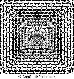 Black and White Hypnotic Background. Illustration.