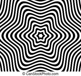 Black and White Hypnotic Fascinating Abstract Image. Vector Illustration. EPS10