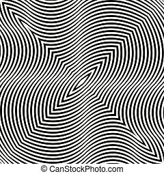 Black and white hypnotic illusion background, vector