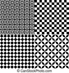 Black and White Hypnotic Psychedelic Background Collection Set Pattern. Illustration