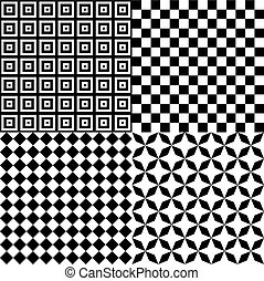 Black and White Hypnotic Psychedelic Background Collection Set Pattern. Vector Illustration