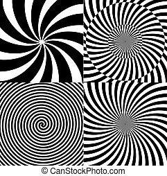 Black and White Hypnotic Psychedelic Spiral with Radial Rays, Twirl Background Collection Set Pattern. Vector Illustration