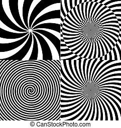 Black and White Hypnotic Psychedelic Spiral with Radial Rays, Twirl Background Collection Set Pattern. Illustration