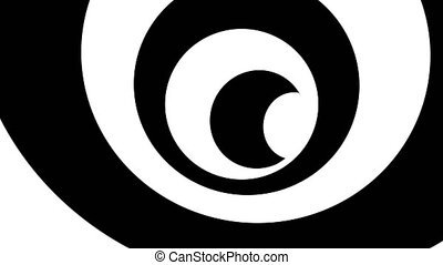 Black and white hypnotic spiral. Seamless loop