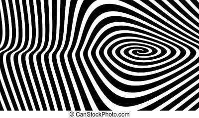 Black and white hypnotic spiral illusion background, 4K video