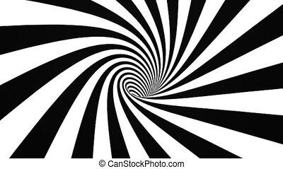 Black and white hypnotic spiral