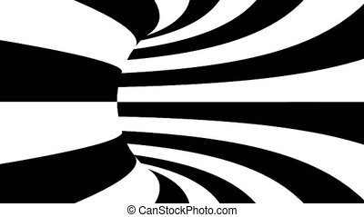 Black and white hypnotic tunnel. Seamless loop