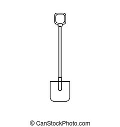 Black and white icon of a construction agro beautiful shovel with a wooden handle for digging the ground. Garden tools on a white background. Vector illustration