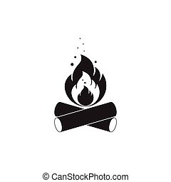 Black and white icon of bonfire with firewood. Isolated