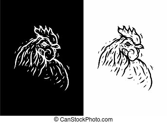 Black and white illustration drawing of rooster