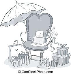 Black and White Illustration Featuring Bridal Shower Embellishments