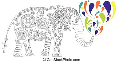 Black and white illustration for coloring book