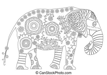 Black and white illustration for coloring book.